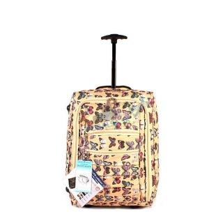 8dbfd883dbfe8 Žltý cestovný kufor s motýľmi