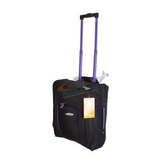 3b1da2bf449e5 Čierny cestovný kufor s fialovou rukoväťou
