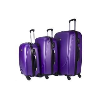 ffafe0ec0cf8b Sada 3 fialových škrupinových cestovných kufrov