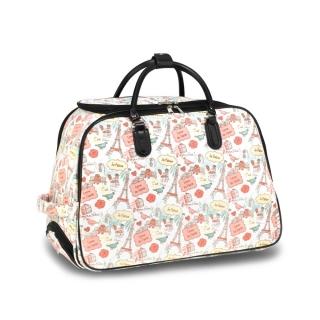 28144e9a0f454 Ružovo-biela cestovná taška s kolieskami