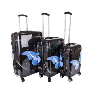 b3a5492fa6ca0 Sada 3 čiernych škrupinových cestovných kufrov