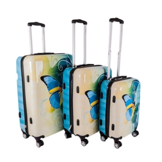 0b89f5952d4fb Sada 3 tyrkysových škrupinových cestovných kufrov